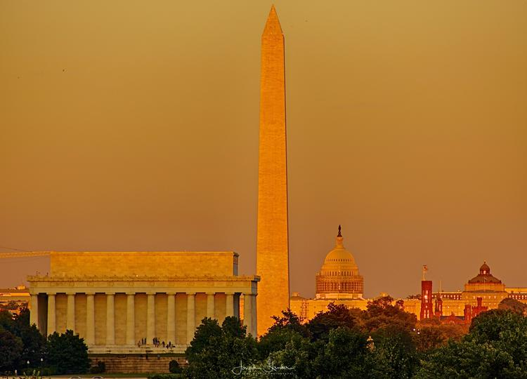 View of DC monuments and memorials on the 2014 fall equinox.