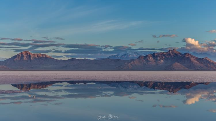 A cold night breaks on the Bonneville Salt Flats
