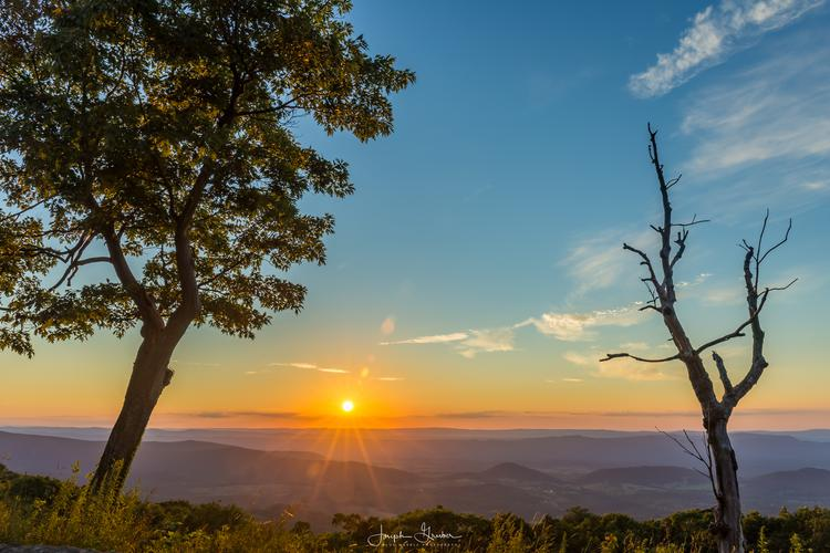 Beautiful sunset seen from the Browntown Valley Overlook in the Shenandoah National Park