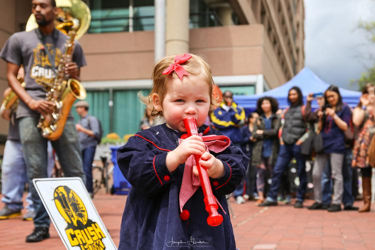 Crush Funk Brass performing at the Reeves Center hosted by DCRE for Funk Parade, a festival celebrating music and arts in Washington, DC's U Street Neighborhood. Saturday, May 7, 2016.