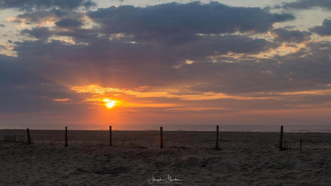 Sunset over the sandy beaches at Assateague Island National Seashore