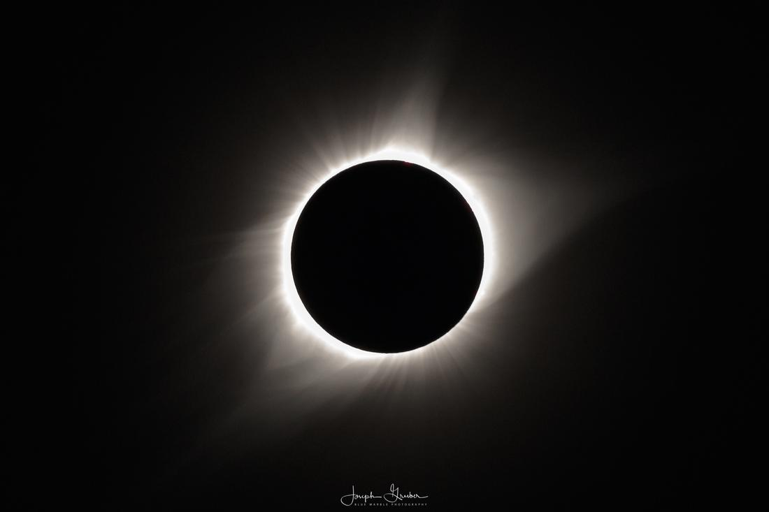 Full totality of the sun as the moons passes in front during a total solar eclipse